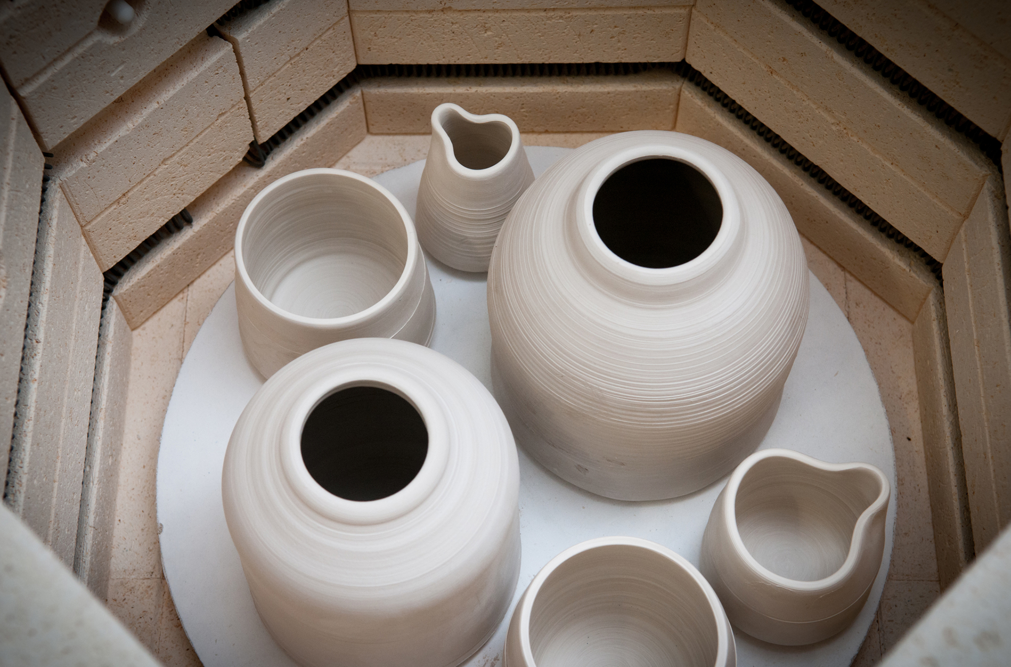 Clay pots in kiln